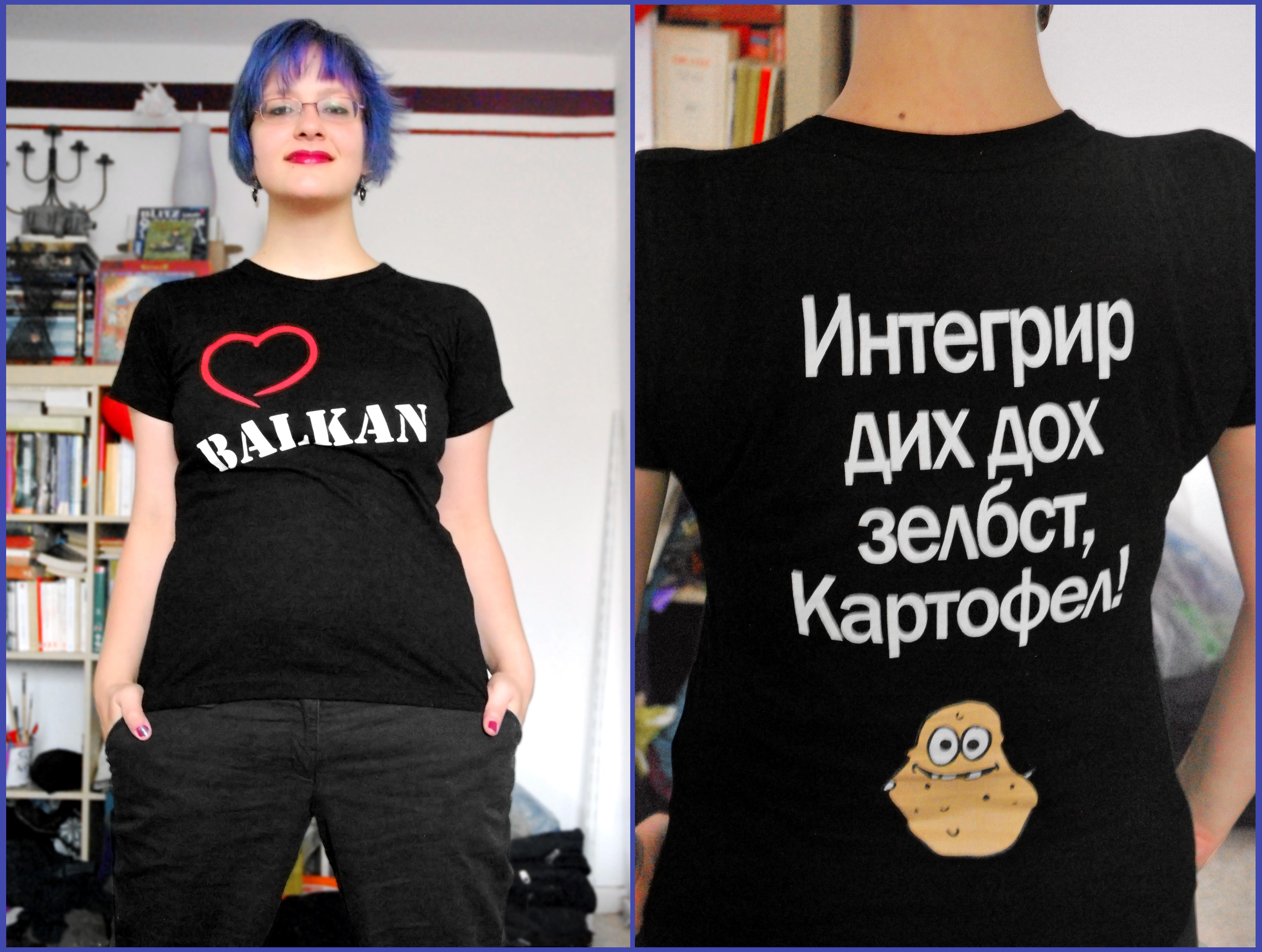 "Selbstentworfenes T-Shirt: ""Integrier dich doch selbst, Kartoffel!"""