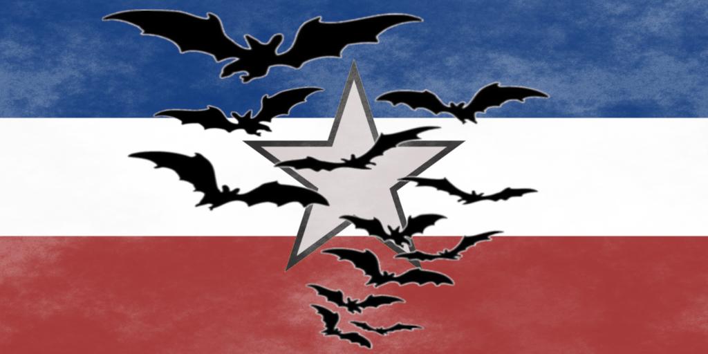 Jugoslawien-Flagge mit einem Fledermausschwarm.